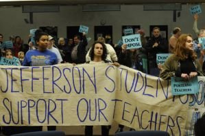 Led by the Portland Student Union, about 400 people rallied at a Portland Public School Board meeting in support of their teachers in January. (photo: oregonlive.com - http://www.oregonlive.com/portland/index.ssf/2014/01/portland_students_and_teachers.html)
