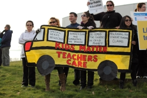 Teachers in Burnaby, BC make the connection between social justice and education funding in 2012. (Photo: Burnaby Teachers' Association blog)